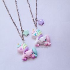 Pastel Unicorn White and Pink Necklace by momomony on Etsy