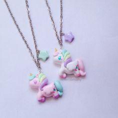 Pastel Unicorn White and Pink Necklace by momomony on Etsy