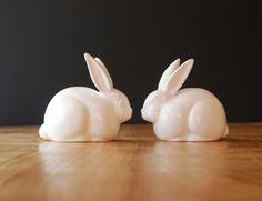 Vintage Bunny Rabbit Figurines - Pair of Cuties by Vohann. $12,00, via Etsy.