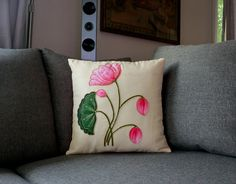 Lively Lotus: Hand painted decorative Silk cushion cover