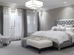 ♅ Dove Gray Home Decor ♅ luxe modern bedroom in grey more lucite and textures and fur ( love the grey and white combo)