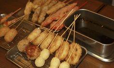 """Osaka, Soul foods """"Kushikatsu"""" of Shin-sekai - Fried food on a stick"""