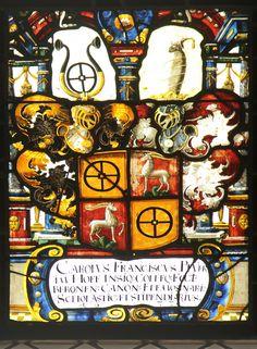 Heraldic window in the Church of St. Agatha at Neudorf, Lucerne, Switzerland