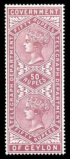 Ceylon - Telegraph stamps - 1881 Victoria, 50r magenta, l.h., v.f., rare, with 1992 Diena cert., (Catalog value £ 1,500)    Dealer  Cherrystone Auction    Auction  Estimate price:  1900.00 US$  More about stamps: http://sammler.com/stamps/