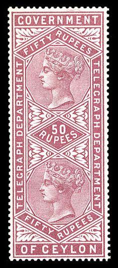 Ceylon - Telegraph stamps - 1881 Victoria, 50r magenta, l.h., v.f., rare, with 1992 Diena cert., (Catalog value £ 1,500)    Dealer  Cherrystone Auction    Auction  Estimate price:  1900.00US$  More about stamps: http://sammler.com/stamps/