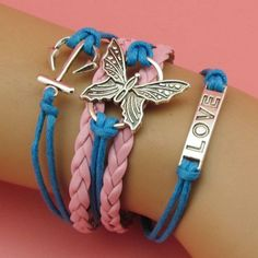 Butterfly Bracelet Love Leather Cuff by sherrishempdesigns on Etsy