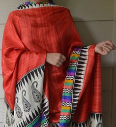 Red Raw Silk Hand Printed Stole Red Summer Scarf by HoityToityDiva, $18.60
