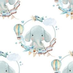 """8"""" Baby Boy Elephant with Toys White Back by shopcabin Home Decor Fabric, Big And Beautiful, Custom Fabric, Creative Business, Blue Stripes, Spoonflower, Craft Projects, Elephant, Baby Boy"""