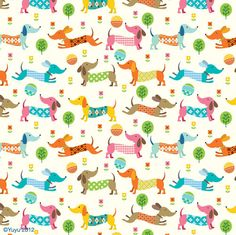 Yuyu - cute spring dog pattern