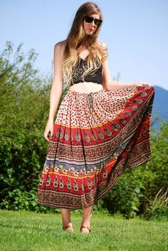 Vintage Hippie Skirt India Gauze Maxi Skirt by SurfandtheCity