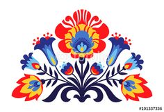 Vector: Polish folk inspired flowers
