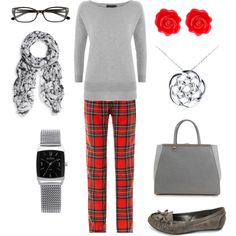 """Plaid and grey"" by jossiebristow on Polyvore"