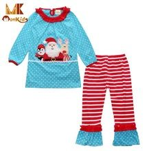 Monkids 2016 Girls Christmas Clothing Sets Novelty Suits Children Costumes Character Printing Dot Suits Baby Kids Clothes Sets(China (Mainland))