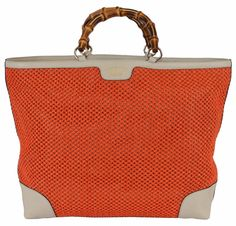 NEW Gucci 338964 Large Orange Straw Leather Bamboo Handle Purse Tote Shopper #Gucci #TotesShoppers