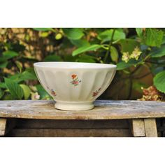 Large French Vintagebowl faceted French bowl white with flowers French... (€25) ❤ liked on Polyvore featuring home and kitchen & dining