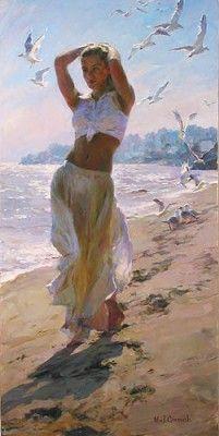 A Walk On The Beach by Garmash