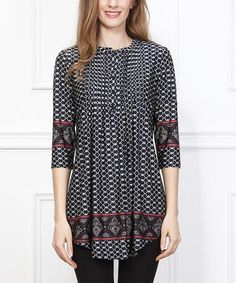Look at this #zulilyfind! Black Scarf-Print Notch Neck Tunic #zulilyfinds
