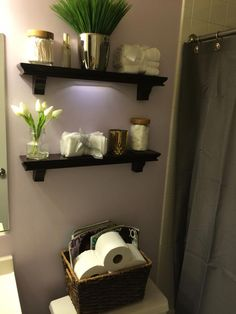 Shelves from Target and everything else on the shelves are from TJ MAXX along with the basket on top of the toilet along Grunge Room, Target Home Decor, Downstairs Bathroom, Affordable Home Decor, Home Projects, Just In Case, Decor Styles, Sweet Home, Wall Decor