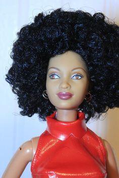 Big Black Afro Full Head Reroot Trichelle Christie Barbie Doll OOAK #Mattel