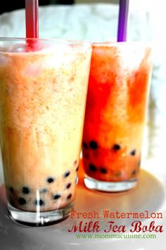 Fresh Watermelon Milk Tea Boba Drink recipe by Momma Cuisine Over the past few years, boba or pearl drinks have become all the rage in Asian and Asian-inspired restaurants all over the country. Invented in Taiwanese tea shops in the 80's, boba milk tea has a simple black tea base,...
