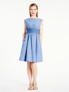 CHAMBRAY BLAIRE DRESS in blue chambray FEATURES 100% cotton cap sleeve on seam pockets FIT fit and flare dress size 4 measures 38'' from highest shoulder point DETAILS style # njmu3732