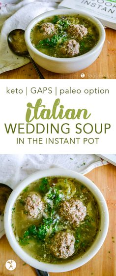 This Italian Wedding Soup in the Instant Pot is the perfect marriage of Italian-inspired meatballs and veggie soup. Low-carb and GAPS, with paleo option. wedding food Italian Wedding Soup in the Instant Pot :: keto, GAPS, paleo option Italian Wedding Soup Recipe, Italian Soup, Italian Recipes, Lunch Recipes, Real Food Recipes, Soup Recipes, Healthy Recipes, Diet Recipes, Vegetarian Recipes