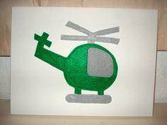 Green Felt Helicopter on Canvas Nursery by BerryNiceCushions, £7.50