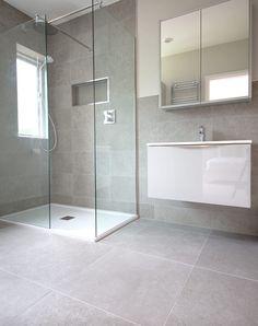 English Grey stone effect porcelain tiles, grey porcelain for floor and wall tiles. Order your FREE sample of English Grey porcelain stone tiles Grey Bathroom Floor, Light Grey Bathrooms, Small Bathroom, Grey Marble Bathroom, Small Shower Room, Master Bathroom, Bathroom Layout, Modern Bathroom Design, Bathroom Interior Design
