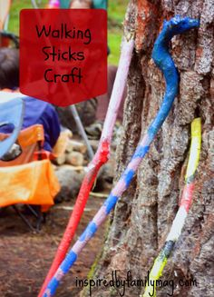 Walking Sticks Craft {Great Camping Craft!} - Easy craft to haul along supplies for on your next camping trip or just for fun on your next nature walk.