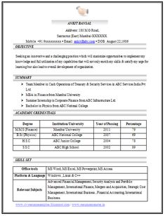 Resume Structure Example Template Of Excellent Fresher B Tech Resume Sample