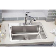 "Elkay Gourmet 27"" x 22"" Stainless Steel Single Bowl Dual Mount Kitchen Sink"