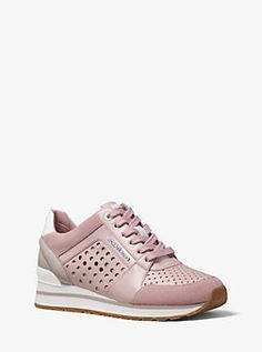 Billie Perforated Leather and Suede Sneaker by Michael Kors