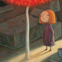 El árbol rojo. De Shaun Tan. Editorial Barbara Fiore. Más que un cuento al uso, es un poema visual, a través de mundos imaginados por Shaun Tan. Las ilustraciones nos trasladan por un viaje que nos llevará desde la desesperación a la esperanza. Y ese viaje se realiza a través de metáforas que ayudan a describir sentimientos. Monstruos, tormentas, agua, viento, el arco iris… Las protagonistas son una pequeña niña que despierta tristeza y una hoja roja que la acompañará volando .