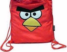 RED ANGRY BIRDS FACE DRAWSTRING BAG BACKPACK TRAVEL STRING BAG-ROVIO-NEW!!