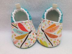 Aqua Dragonfly Baby Shoes, Soft Sole Baby Shoes, Baby Booties, Toddler slippers