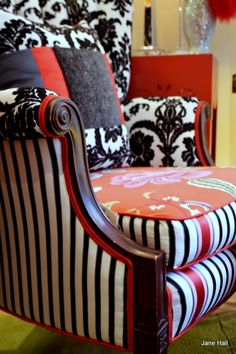 Hand Crafted Upholstered Vintage Furniture, One Of a Kind Cushions Lampshades in Red Black and White by Jane Hall The Voice of Style | CustomMade.com