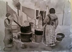 """""""Still in the Kitchen,Shades of Black."""" Monochrome watercolor on Arches cold press  140, September 2016.  Barbara Jack White. Gifted for sale January 2017."""