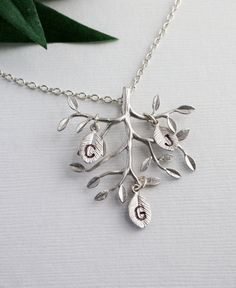 "Personalized Jewelry - "" Family Tree "" - Sterling silver necklace, Initials, Birthday, Family, Mom's Gift,"