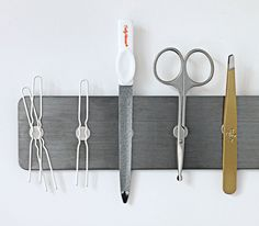 Use magnet strips to keep track of small metal items!
