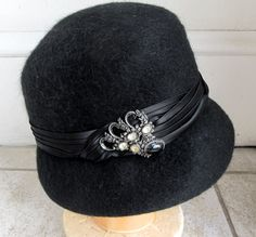 Vintage 1960s Black w Beaded Satin Band Hat 22 Church by Flashbax, $45.00