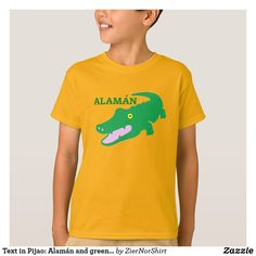 Text in Pijao: Alam& and green crocodile T-Shirt - simple clear clean design style unique diy Orange T Shirts, Yellow T Shirt, Simple Shirts, Fitness Models, Language, Casual, Sleeves, Mens Tops, Texts