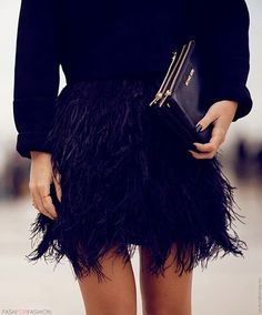 feather skirt #black #skirt #feather #chic #look #streetstyle #love #fashion
