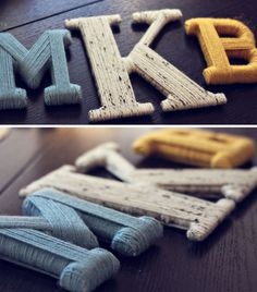 I've seen lots of these yarn/twine wrapped letters... I like the idea of using full initials!