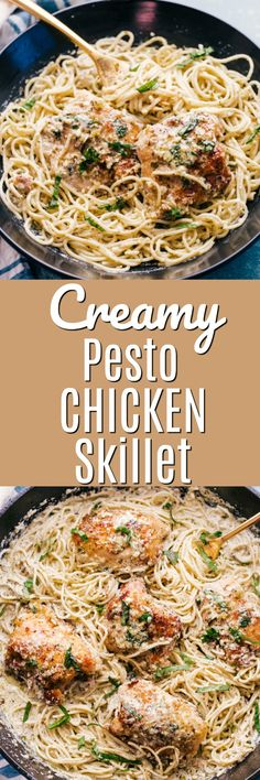 Creamy Pesto Chicken Skillet - An easy family dinner full of robust flavors mixed with delicate angel hair pasta and perfectly browned chicken, you are going to love every creamy bite. #pasta #pastadinner #angelhair #chickendinner #chickenrecipes #chickenpasta #pesto #skilletchicken #skillet #onepan #easydinner #familydinner
