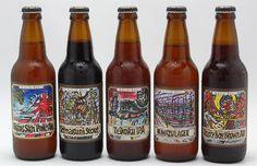 静岡県ベアードビール  版画を制作してもらいパッケージにしている。遊び心があり、例えばアングリーボーイは青い目をしており、聞いてみるとこれはいつもビール作りに一生懸命で怒っているようなベアード本人がモデルだという。パッケージのどこかにホップの絵が隠れており、そのホップの数がそのまま強さを表す。