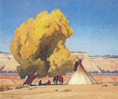 Lazy Autumn painting of native campsite by Maynard Dixon at BYU Museum of Art. Landscape Illustration, Landscape Art, Landscape Paintings, Landscapes, Maynard Dixon, Southwestern Art, Desert Art, Mexican Artists, Autumn Painting