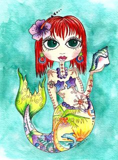 INSTANT DOWNLOAD  KEY WEST MERMAID ART  8.5 x 11    You will be able to instantly download this Art Print.  After checkout youll be given a direct