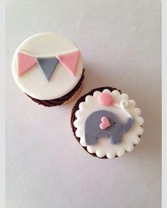 24 Edible Elephant Pendant Baby Shower Girl Fondant Cupcake Toppers Customizable #BabyShower