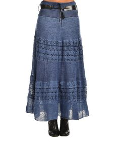 Look at this #zulilyfind! Navy Blue Geometric Belted Maxi Skirt #zulilyfinds