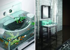 Fish Tank Aquarium Sink - would go well with the toilet tank haha Dream Bathrooms, Amazing Bathrooms, Small Bathroom, Bathroom Ideas, Tanked Aquariums, Fish Aquariums, Cool Fish Tanks, Cool Rooms, Living Spaces